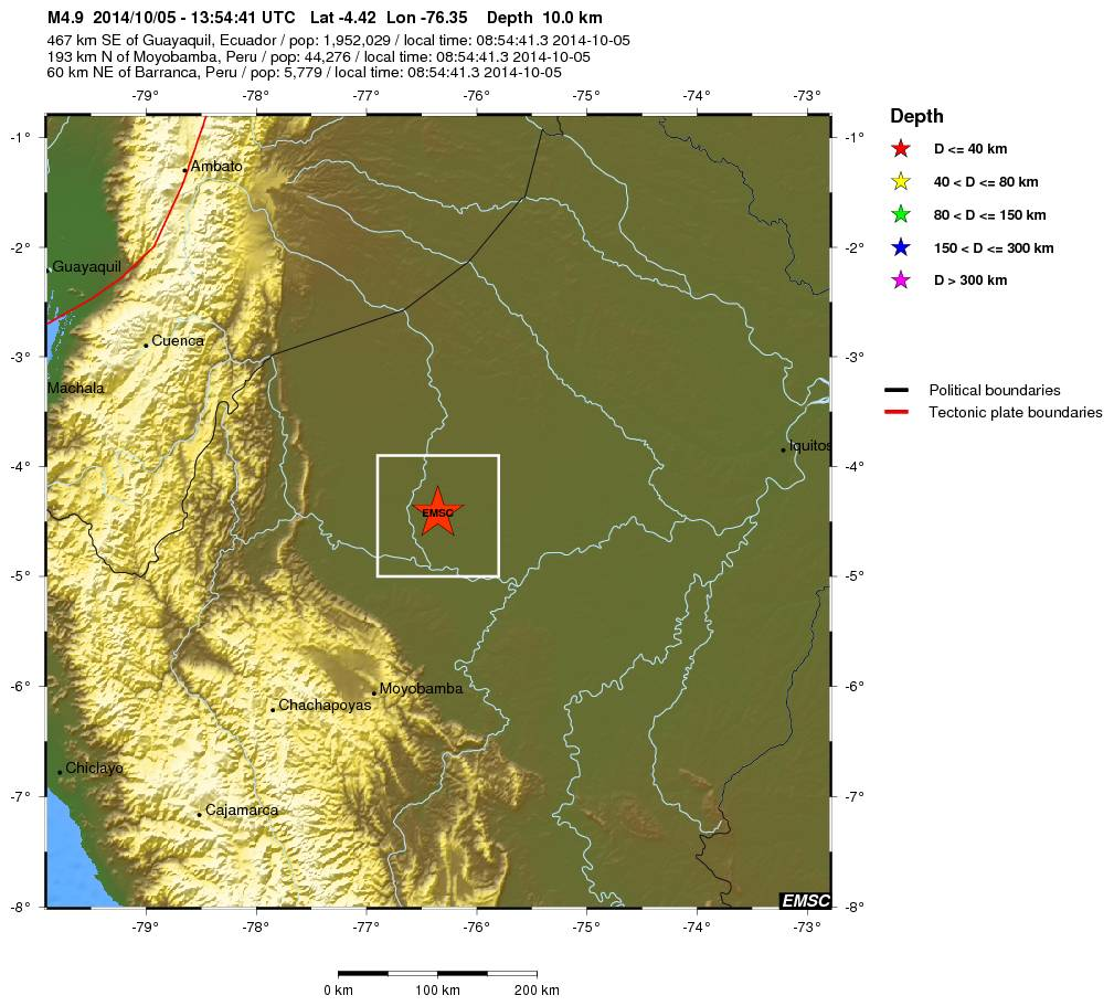 Earthquake - Magnitude 4.9 - NORTHERN PERU - 2014 October 05, 13 ...