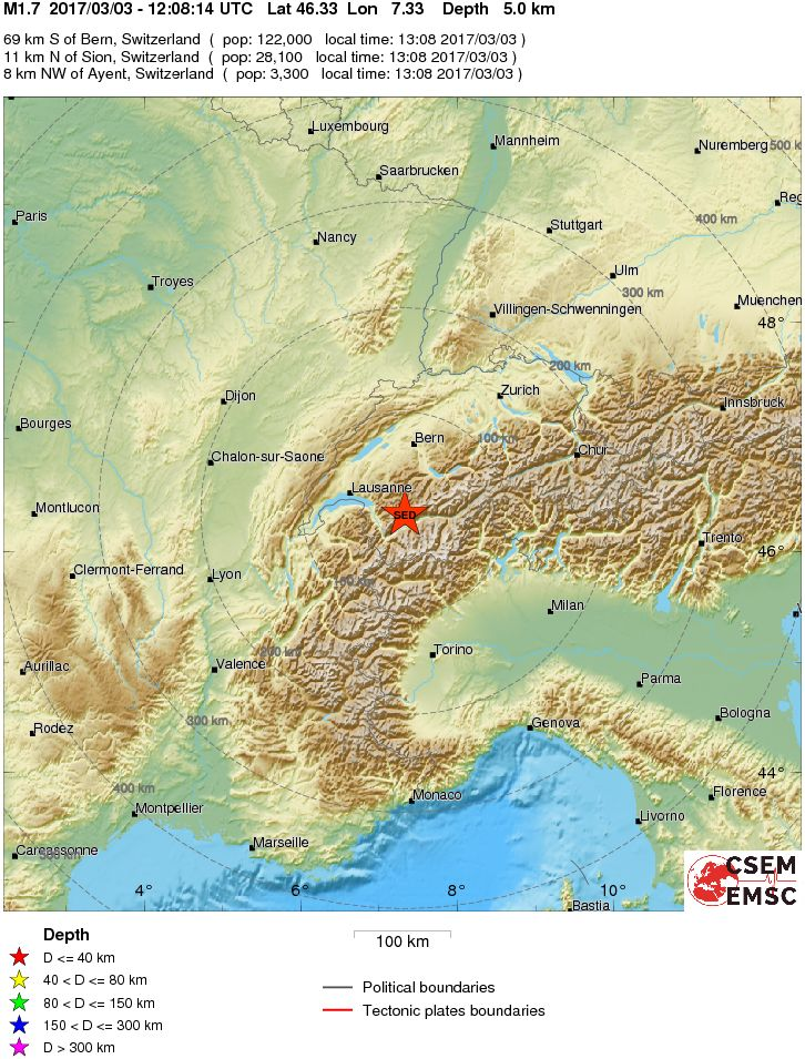 Earthquake Magnitude 17 SWITZERLAND 2017 March 03 120814 UTC