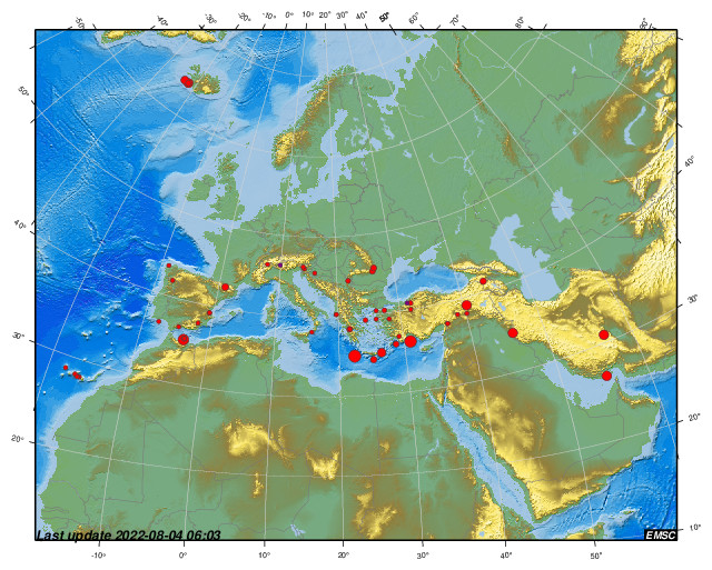 [Map of earthquakes in the last 24 hours in the Europe and continental margins.]