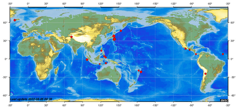 (World map showing recent earthquakes from EMSC)